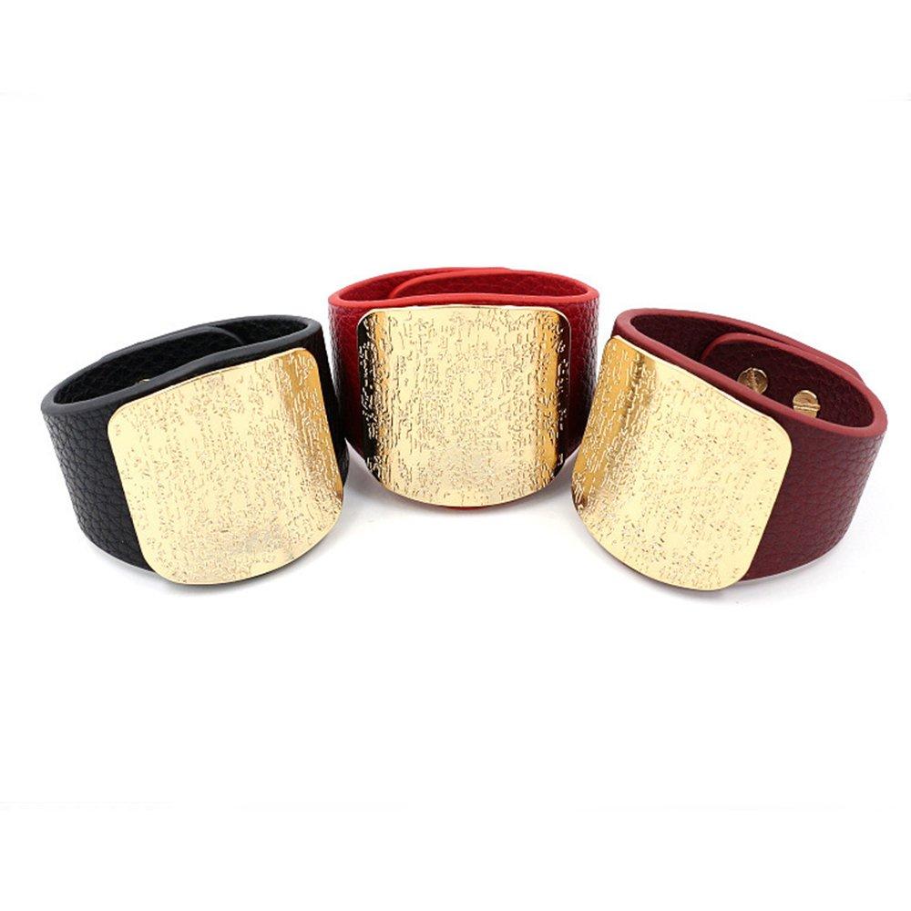 Coiris Women Punk Style Metal and PU Leather Wide Wrap Bracelet Adjustable Size BR-1135