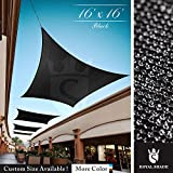 Royal Shade 16' x 16' Black Square Sun Shade Sail Canopy Outdoor Patio Fabric Shelter Cloth Screen Awning - 95% UV Protection, 200 GSM, Heavy Duty, 5 Years Warranty, Custom