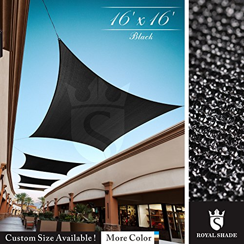 Royal Shade 16' x 16' Black Square Sun Shade Sail Canopy, 95% UV Blockage, Heavy Duty 200GSM, Custom Made Size