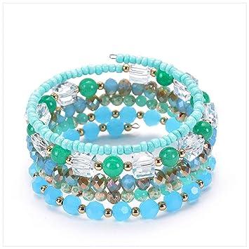 HlzF Agate Turquoise Naturelle Multi,Cercle Enroulement Bracelet  Multi,Couche Bracelet Cadeau
