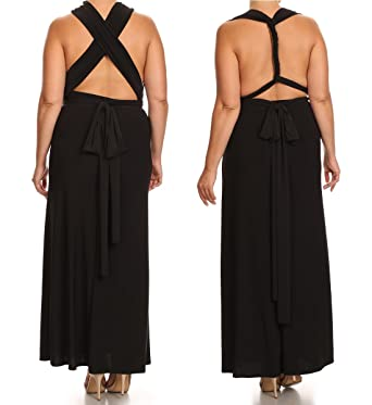fa4fe6eda49 Zoozie LA Women s Plus Size Convertible Magic Transformer Mult-Way Wear Maxi  Dress at Amazon Women s Clothing store