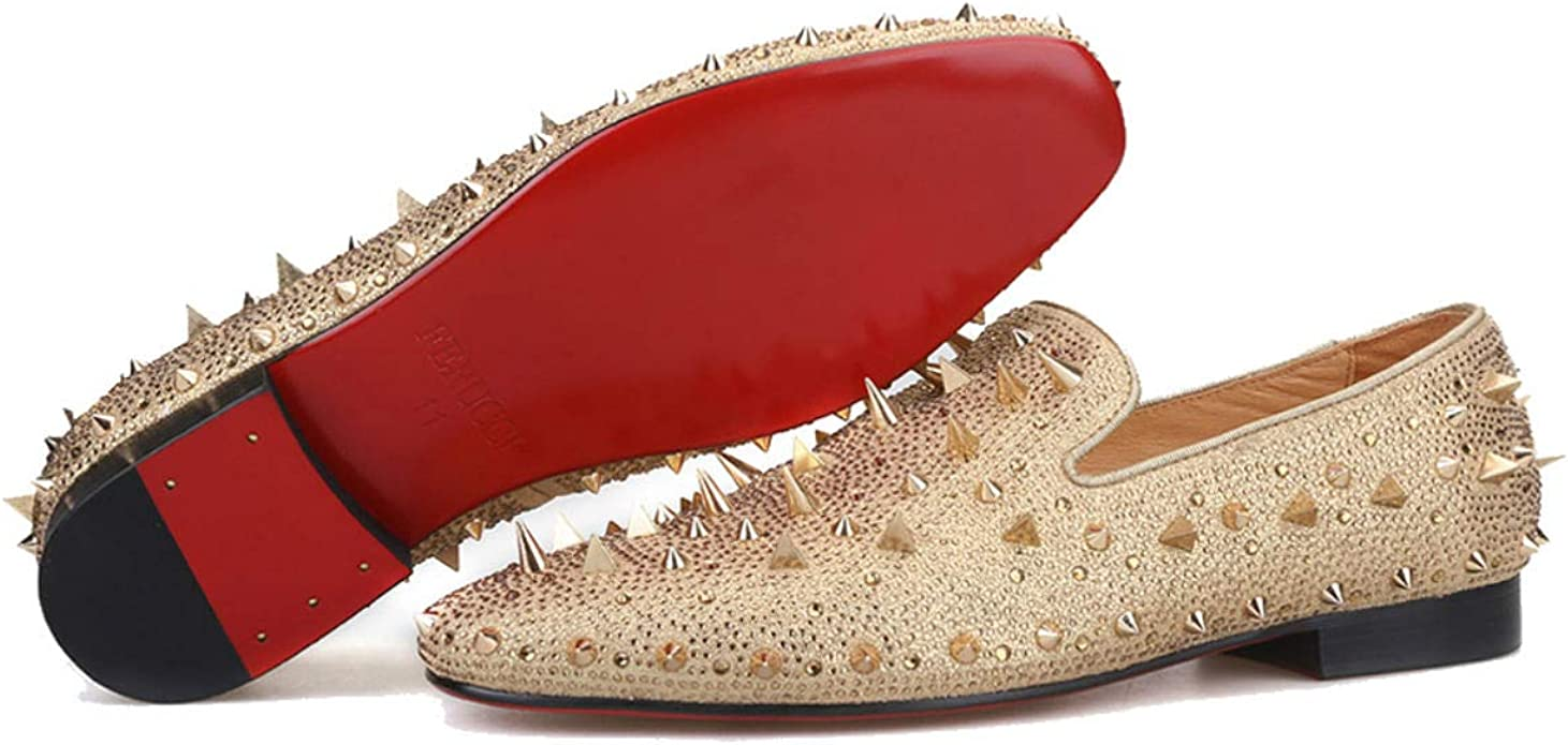 wholesale price size 7 quite nice Amazon.com | FERUCCI Men Gold Spikes Slippers Loafers Flat with ...