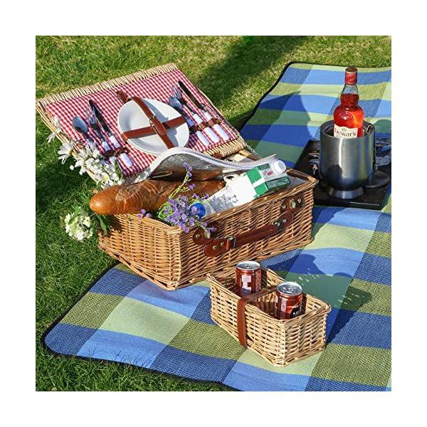 6175MIlTcVL SONGMICS wÄrmeisoliert Wasserdichte Picknickdecke, Stranddecke mit Tragegriff , GCM50C, 195 x 150 cm, Blau