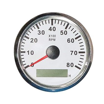 Interior Accessories CT-CARID 85mm Marine Tachometer Gauge Waterproof with LCD Digital Hour Meter Clock 8000 RPM 12V/24V Backlight for Car Truck Boat Gauges