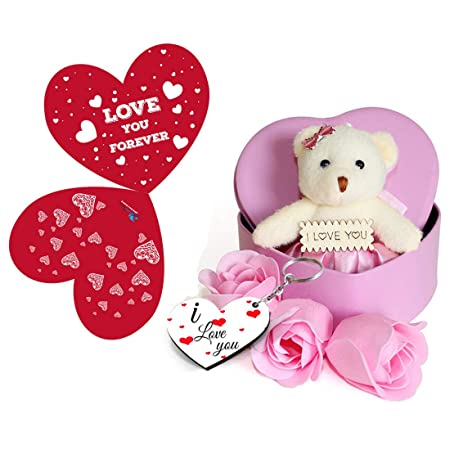Buy Sky Trends Artificial Heart Shaped Box Teddy And Roses And Wooden Keychain Multicolour 1 Teddy 3 Fragrant Rose Bud Petal Soap 1 Heart Shape Tin Box 1 Key Chain With Happy Valentine S