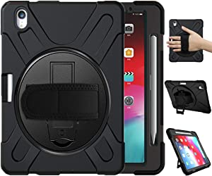 Azzsy iPad Pro 11 Case 2018 with Pencil Holder [Support Apple Pencil Charging], [360 Degree Swivel Stand/Hand Strap] Slim Heavy Duty Shockproof Rugged High Impact Full Body Protective Case (Black)