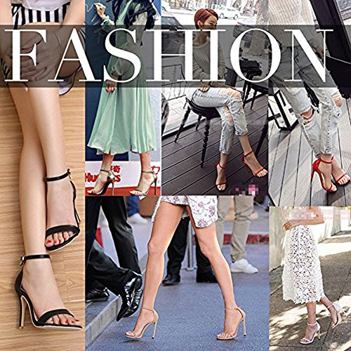 Women`s Fashion Ankle Strap Heeled Sandals Strappy Stiletto Pumps for Wedding Party Purple pink f2sfPg