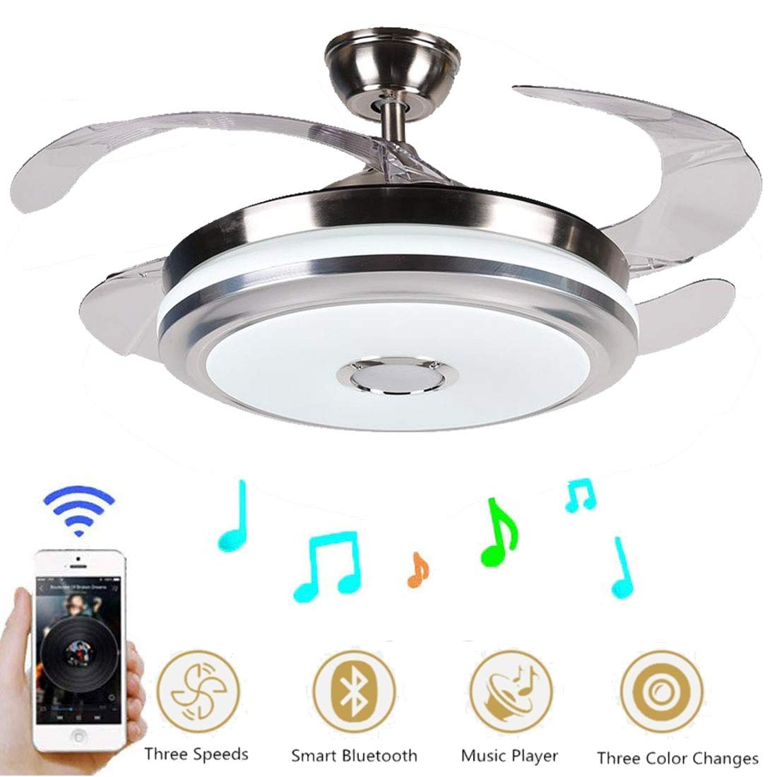 42 Inch Modern Music Ceiling Fan Light with Bluetooth Speaker, Remote Control 3 Color Changes Acrylic Retractable Chandelier Fans Lighting Fixtures with Silent Motor for Living Dining Room Bedroom