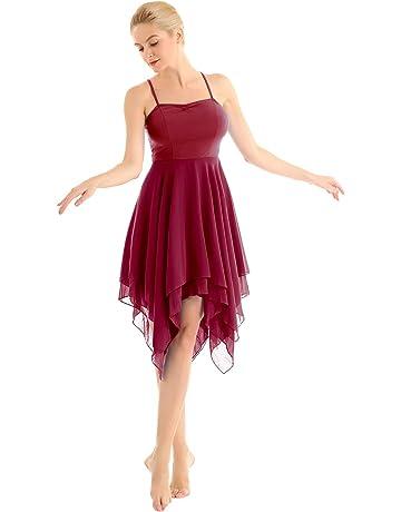 2a7931b7 inlzdz Women's Adult Lyrical Camisole Dress Asymmetrical High-Low 2 Layers  Skirts Dance Dress