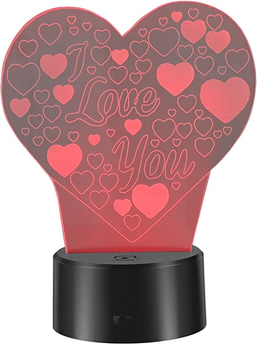 LEDMOMO 3D Lamp Illusion Night Light 7 Colors Changing I Love U Heart Shapes LED Lamp USB Table Lamp for Valentine's Day Lover Gift
