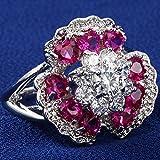 Fashion Jewelry 925 Silver White Topaz & Flower Ruby Ring Women Wedding (8)