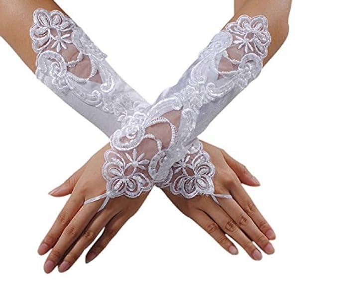 Lingduan Bride No Finger Lace White Wedding Dress Glove Lace Glove