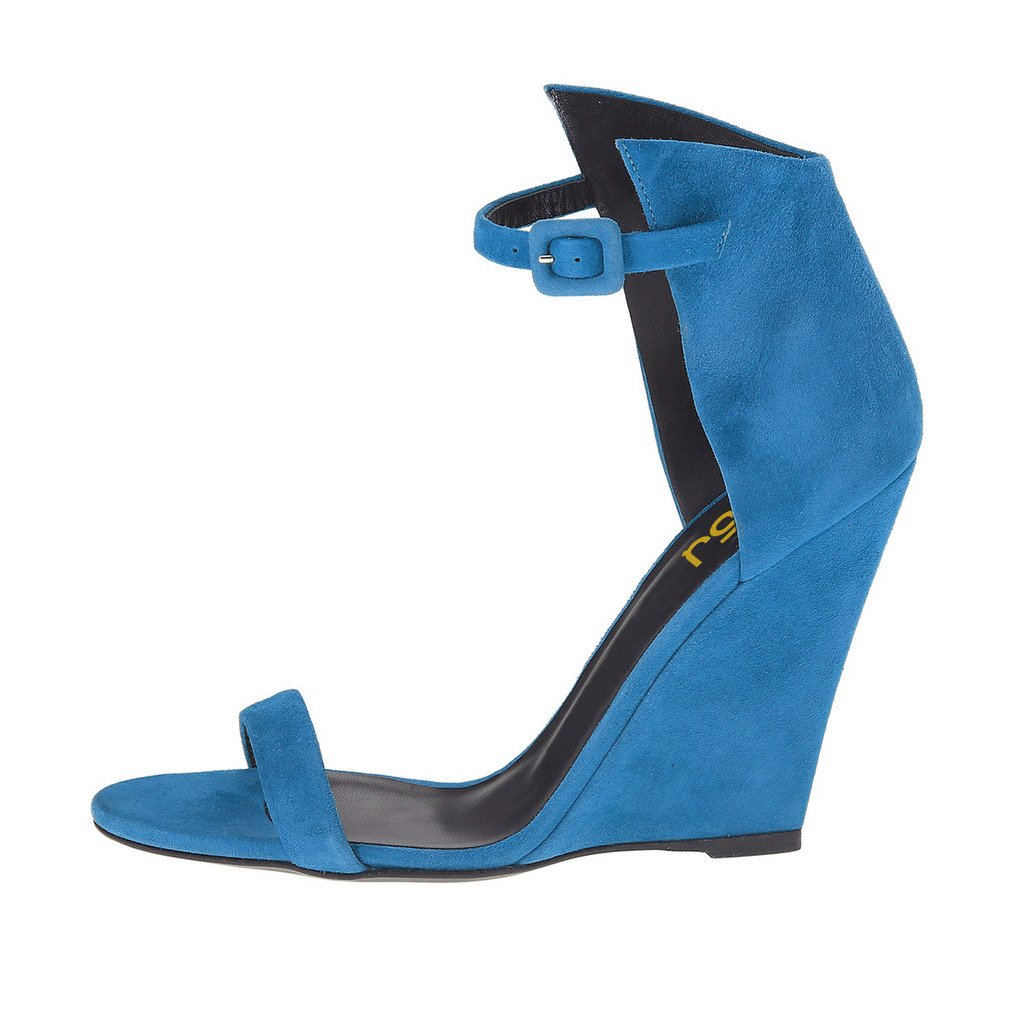 FSJ Women Open Toe Wedge Sandals High Ankle Strap Faux Suede High Sandals Heels Evening Club Shoes Size 4-15 US B0746GN6QH 15 B(M) US|Steel Blue 9095f6