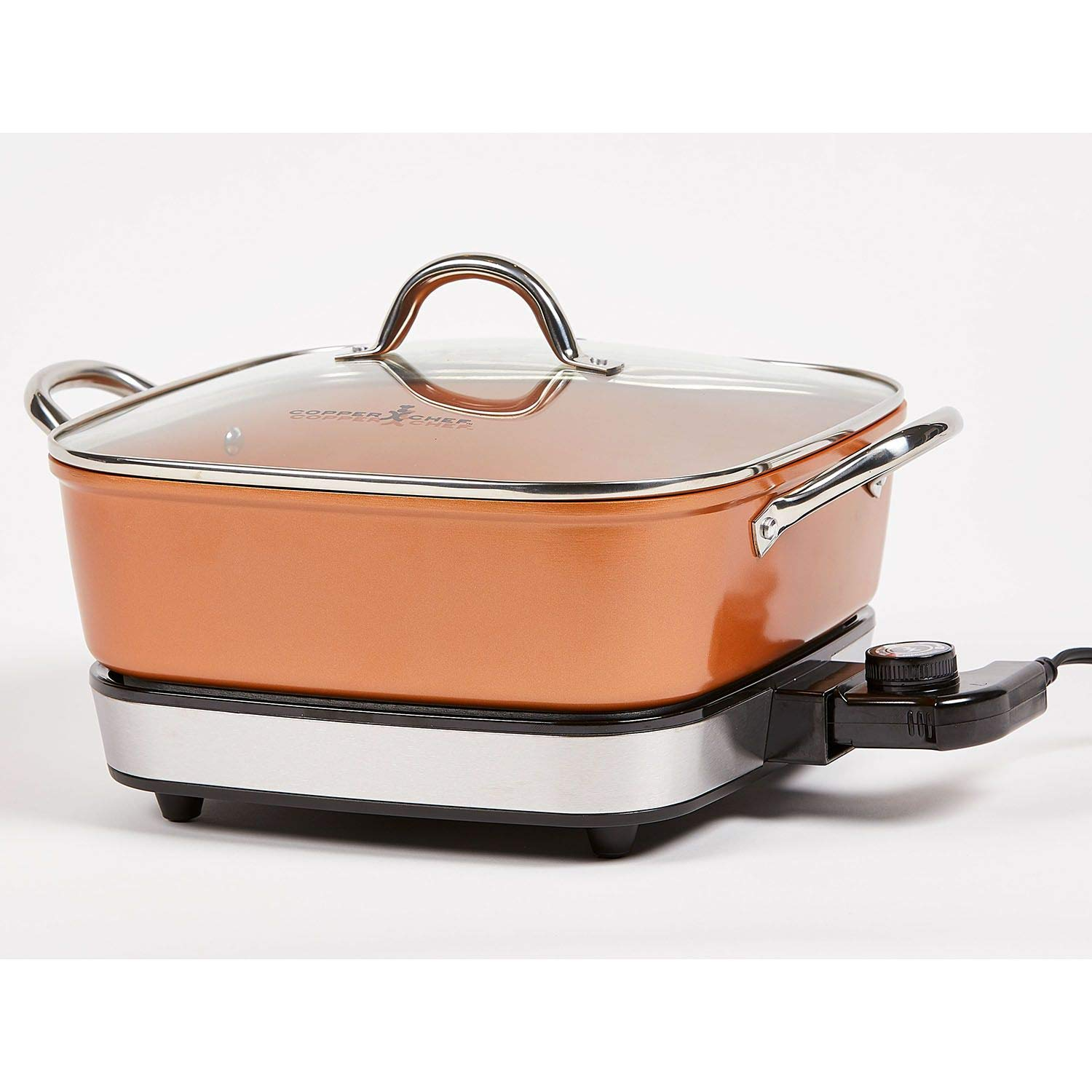 Copper Chef 12 Inch Electric Skillet – Non-Stick Skillet Pan With Glass Lid – Buffet Server & Deep Ceramic Frying Pan For Cooking – Recipe Book Included | Rustic Copper Pan Color