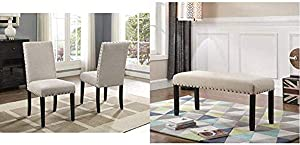 Roundhill Furniture Biony Tan Fabric Dining Chairs with Nailhead Trim, Set of 2 & Biony Fabric Dining Bench with Nailhead Trim, Tan