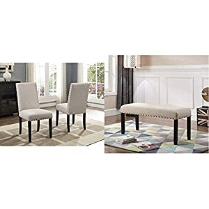 Roundhill Biony Tan Fabric Dining Chairs