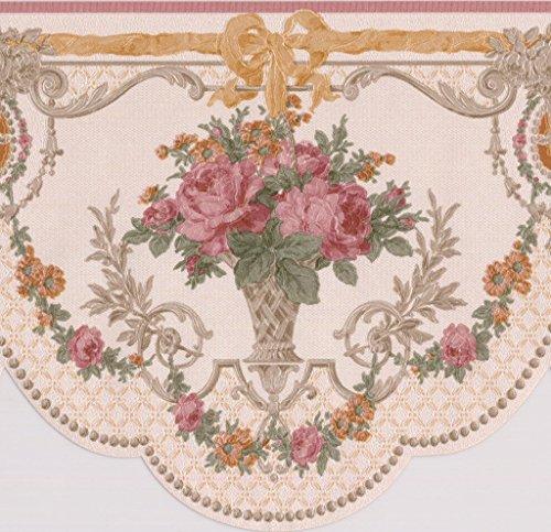 Pink Roses in Pots Vintage Floral Victorian Wallpaper Border Retro Design, Roll 15' x 6.5''