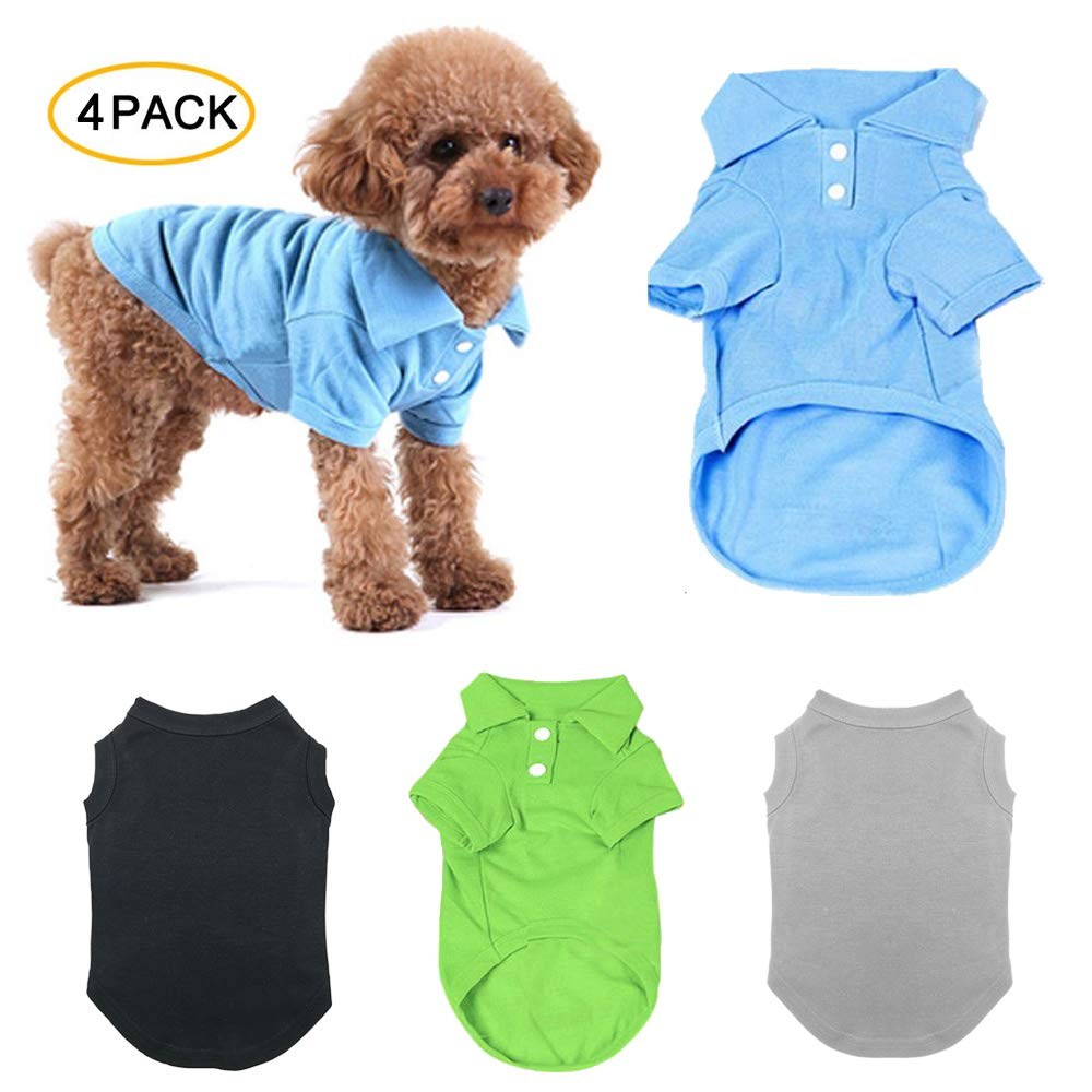 TOLOG 4 Pack Dog T-Shirt Pet Summer Shirts Puppy Clothes for Small Medium Large Dog Cat,Soft and Breathable Cotton Outfit Apparel M