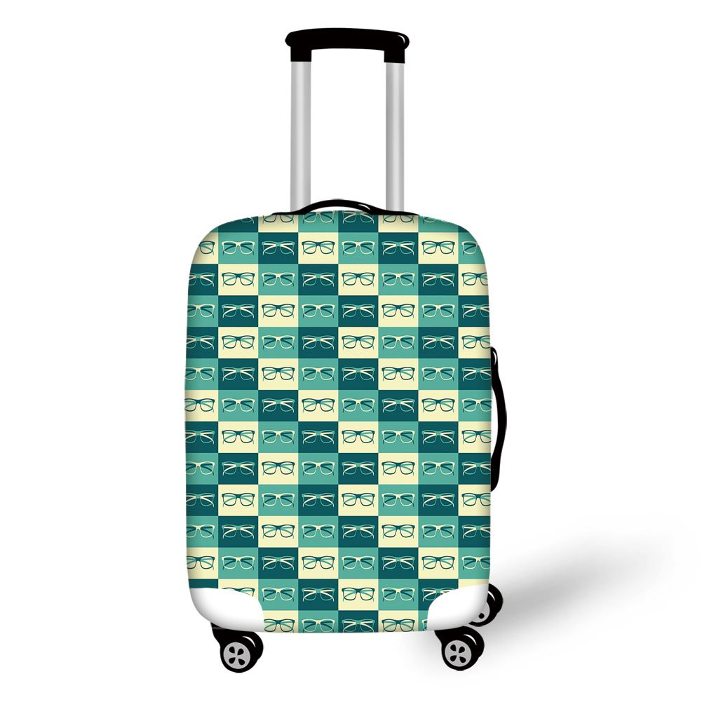 Travel Luggage Cover Suitcase Protector,Indie,Pattern with Eyeglasses in Vintage Style Hipster Cool Collection Decorative,Petrol Blue Turquoise Cream,for Travel
