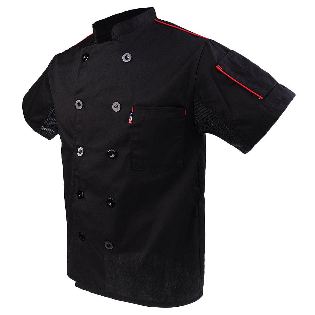 Gazechimp Uniformes de Chef con Manga Corta Uniforme Especial de Cocineros Ropa de Moda de Cocina