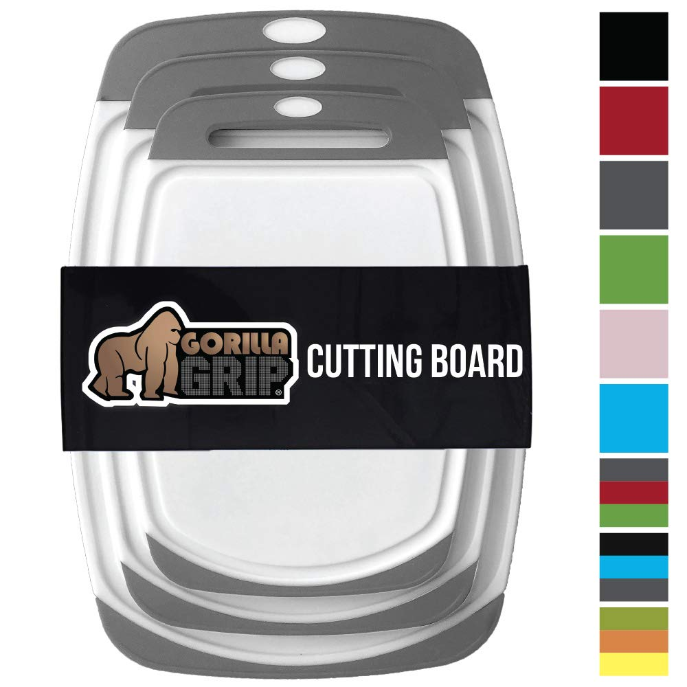 GORILLA GRIP Original Reversible Cutting Board (3-Piece), BPA Free, Dishwasher Safe, Juice Grooves, Larger Thicker Boards, Easy Grip Handle, Non-Porous, Extra Large, Kitchen (Set of Three: Gray)