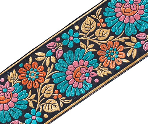 Jacquard Ribbon Trim with Turquoise, Pink, Peach Flowers gold 3¾