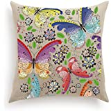 Haute Art Designs Decorative DIY Pillow Cover with 12 Paint Tubes and Brush - Butterflies