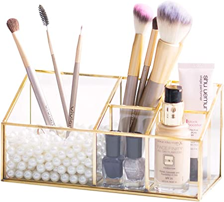Levilan Caja de Cristal Transparente y latón para Guardar Joyas y brochas de Maquillaje, con 5 Compartimentos, diseño Vintage Dorado: Amazon.es: Hogar