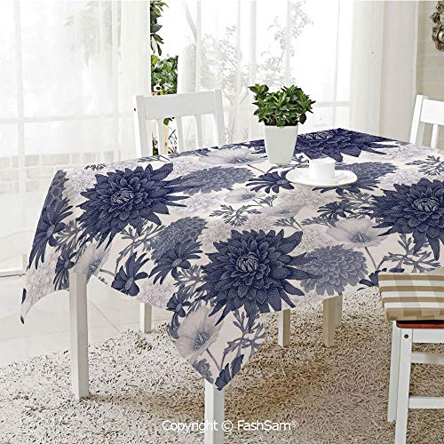 AmaUncle 3D Print Table Cloths Cover Dotted Paint of Dahlias Botanical Curved Rolled Wild Ray Blunts Table Protectors for Family Dinners (W55 xL72)
