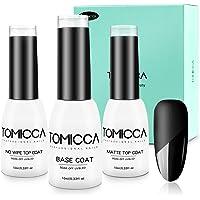 TOMICCA Matte Top Coat and High Gloss Top Coat Base Coat Set Soak off UV LED Gel Nail Polish-10ML 3 Bottles
