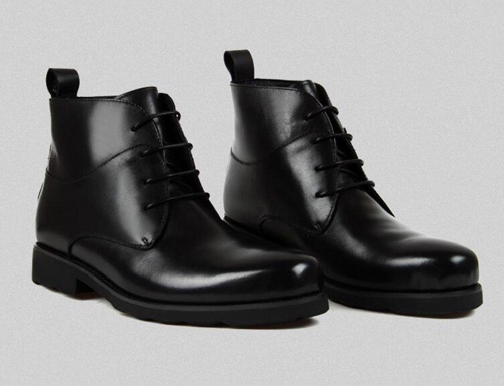 Herren Lederschuhe Winter Herren Lederschuhe Baumwolle gefütterte Schuhe Schuhe Schuhe High-Top britischen Stil warme Freizeit Lederstiefel Kurze Stiefel Herrenschuhe (Farbe   Schwarz, größe   EU38 UK5.5) 1c8261