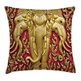 Ambesonne Elephant Throw Pillow Cushion Cover, Yellow Toned Elephant Motif on Door Thai Temple Spirituality Statue Classic, Decorative Square Accent Pillow Case, 24 X 24 inches, Fuchsia Mustard