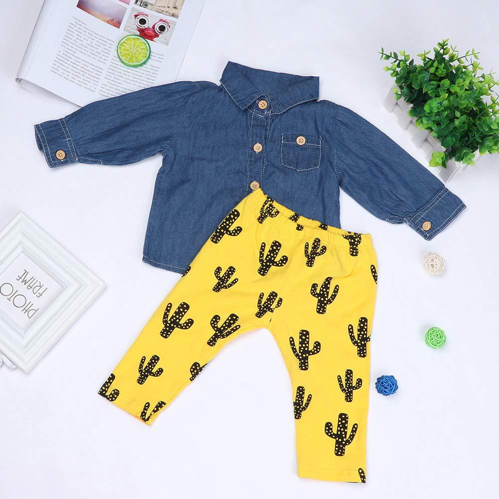 XUANOU Childrens Long Sleeve Denim Top Cactus Print Pants Set Newborn Infant Baby Boys Girls Tops Shirt Cactus Outfits