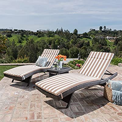 Christopher Knight Home 600 Salem Chaise Wicker Lounge - Lounge around in unparalleled comfort and style with the Salem Chaise Lounger Set. The Set Comes with two Lounges and a folding side table. With multiple configurations possible these pieces are easily transferred and fold flat for storage. The waterproof Cushions are removable depending on preference and offer extra comfort. Spend your days outdoor in luxury with the Salem Chaise Lounger Set. Material: Iron and Polyethylene wicker | Cushion Material: Water Resistant Fabric Wicker Finish: Multibrown | Cushion Color: Brown and White Stripe - patio-furniture, patio-chairs, patio - 6175RSIaN4L. SS400  -