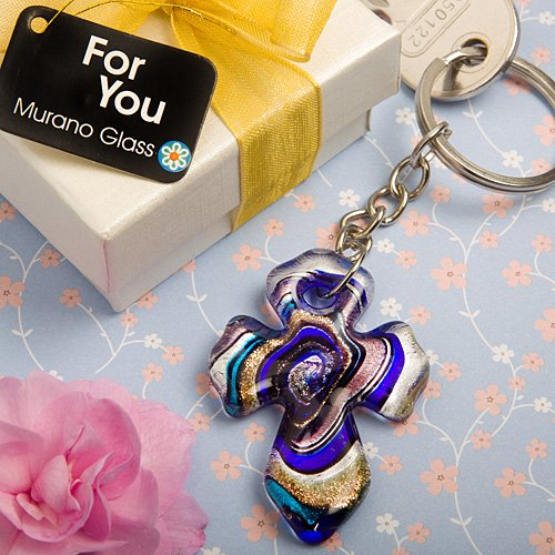 Murano Collection Cross Key Chain Favors, - Favors Collection Chain Key