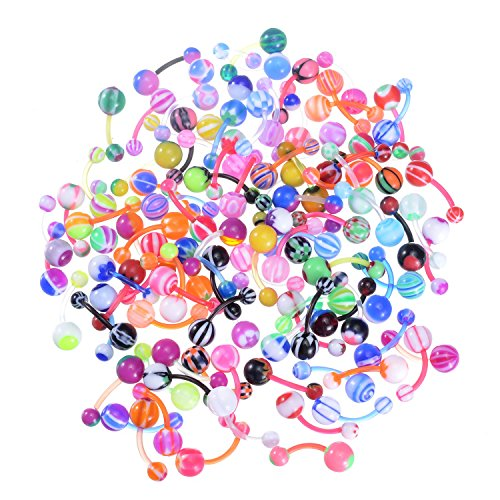 100Pcs 14G Belly Button Rings Assorted Banana Body Piercing Jewelry
