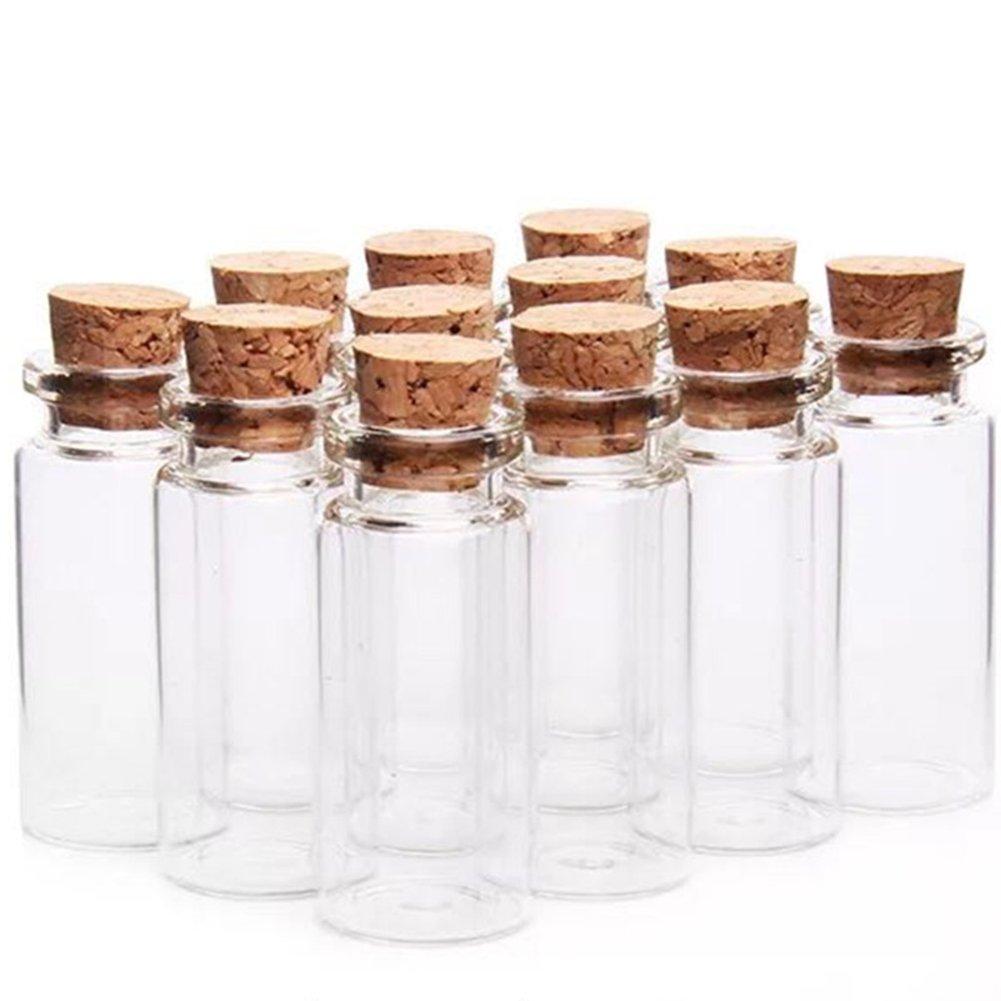 12pcs Chytaii Mini Botellas Deseo Frasco de Vidrio con Tapones de Corcho Tubos para Decoración DIY Botella de Vidrio Transparente 1.5ML: Amazon.es: Hogar