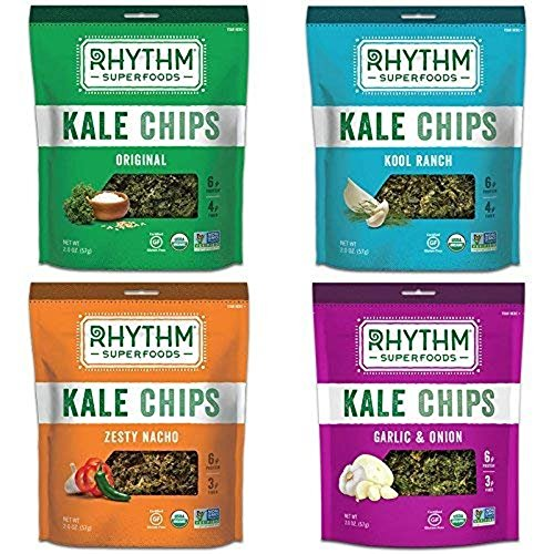 Rhythm Superfoods Kale Chips, Variety Pack, Original/Zesty Nacho/Kool Ranch/Garlic & Onion, Organic and Non-GMO, 2 Oz (Pack of 4), Vegan/Gluten-Free Superfood Snacks