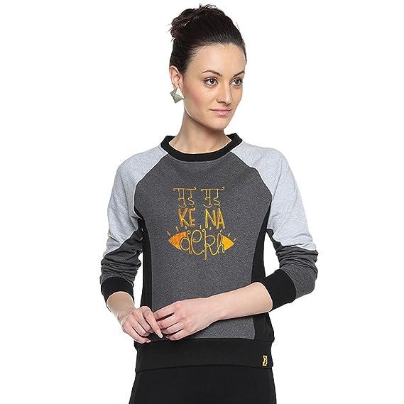 8e3ee8c8 Campus Sutra Charcoal Womens Combination Printed Sweatshirt: Amazon ...