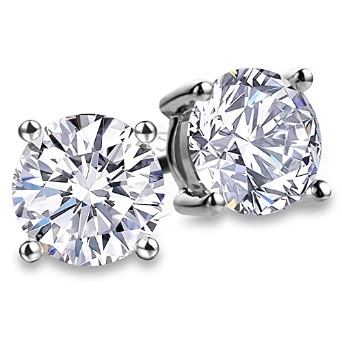 01b0d1e21 Fashion S925 Sterling Silver Cubic Zirconia Stud Earrings Set for Women 4  Prong Sparkling Round Pure