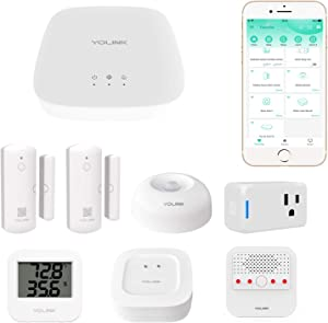 YoLink 1/4 Mile World's Longest Range Smart Home Security Kit - Includes YoLink Hub, Smart Plug Mini, Siren Alarm, Water Leak Sensor, Motion Sensor, Temp Humidity Sensor, and 2 Door Sensors