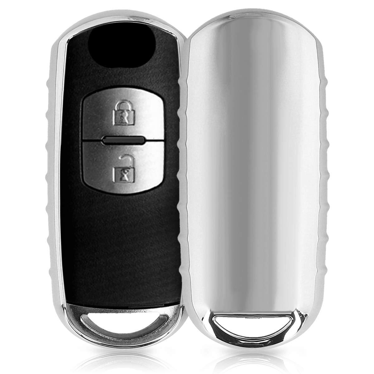 Carcasa kwmobile Funda para Llave Keyless Go de 2 Botones para Coche Mazda Cover de Mando y Control de Auto en TPU para Llaves Suave Plateado Brillante de