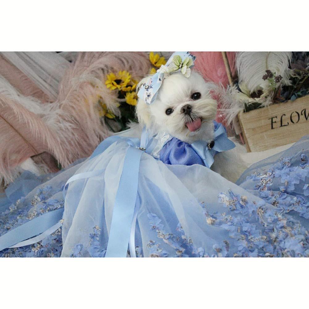 子犬犬のプリンセスドレス、犬の花嫁衣装三次元の花の装飾多層メッシュふわふわスカート適切な結婚式の写真祭りパーティー,XS B07RBMMP48  X-Large X-Large