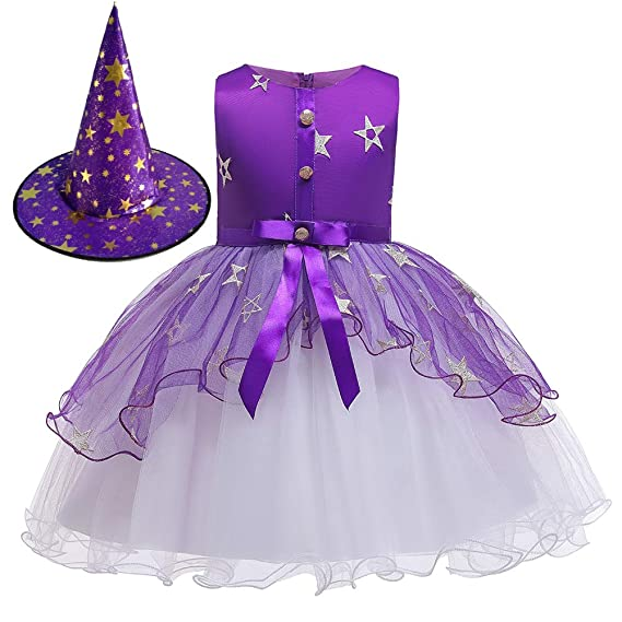 Girls Kids Witch Fairy Halloween Outfits Party Fancy Dress Up Clothes Costume