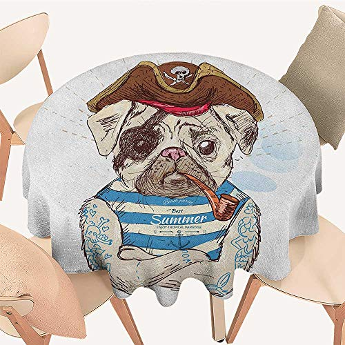 longbuyer Pug Circular Table Cover Pirate Pug Conqueror of The Seas Pipe Skulls and Bones Hat Striped Sleeveless T Shirt Round Tablecloth D 36