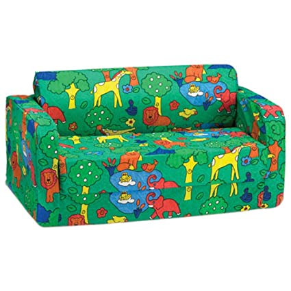 comfy kids polyester kids flip sofa green animal print amazon rh amazon ca