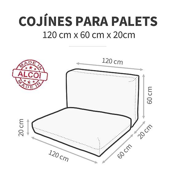 Happers Cojines para Palets 120x60 cm (tamaños para europalet) enfundados con Tejido para Exterior Naylim en Color Arena