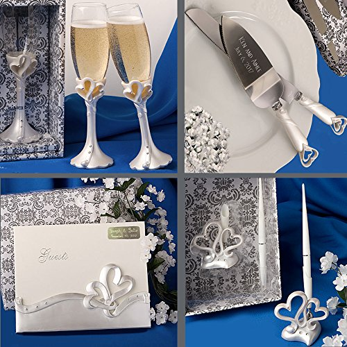 Personalized, ENGRAVED Interlocking Heart Themed Wedding Day Accessory Set by Fashioncraft
