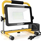 Ustellar 60W LED Work Light,6000lm(450W Equivalent) IP65 Waterproof Portable LED Worklight with Stand,Outdoor Job Site Flood