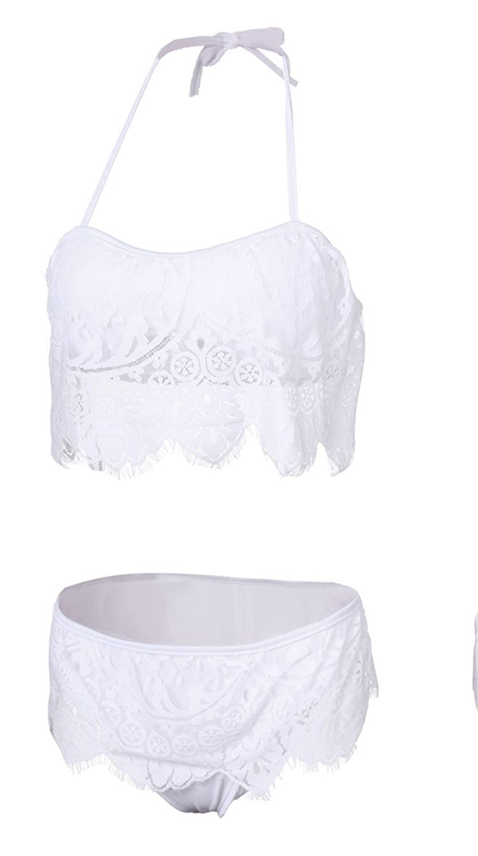 9d68129ce5 50%OFF Bikini Damen Push Up LHWY Frauen Spitze Oberteile BH Set Bandeau  Neckholder Crochet